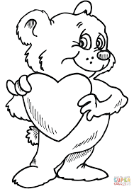 Small Picture Teddy Bear with Heart coloring page Free Printable Coloring Pages