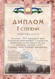 Награды и дипломы Диплом i степени за строительство спального корпуса на 60 мест в санатории Ассы Белорецкого района РБ
