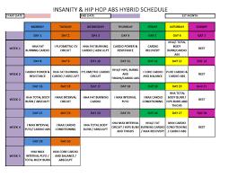 Hip Hop Abs Workout Chart Insanity Hip Hop Abs Hybrid Schedule Hip Hop Abs Cardio