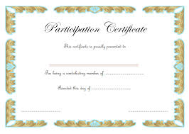 Choir Certificate Template Certificate Of Participation Template Word Free 3 One Package