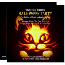 halloween invitations cards cute halloween cat pumpkin party invitation 2 zazzle com