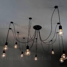 6 8 10 fabric cord arm spider light chandelier suspension ceiling pendant black