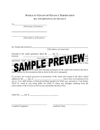 Landlord Notice To Tenant Terminate Lease Quit Template