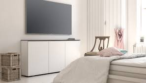 Low Profile Design Media Cabinet Features Low Profile Design For Sleek Storage