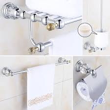 crystal bathroom accessories. Crystal Chrome Bathroom Accessories Set Brass Hardware Modern Products Silver Accessories-in Bath Sets From Home B