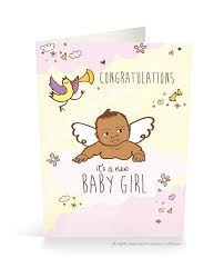 Congrats Its A New Baby Card Girl Little Proud Kid Marketplace