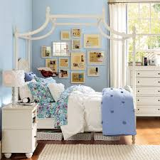 Chic Pagoda Bed In White By Pottery Barn Teens On Wooden Floor Matched With  Blue Wall Plus Dresser For Teen Bedroom Decor Ideas