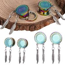 Dream Catcher Tunnels PAIR STAINLESS STEEL DREAM CATCHER FEATHERS DANGLE TUNNELS EAR 61