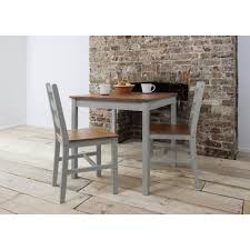 annika bistro set table with 2 chairs in silk grey and natural pine