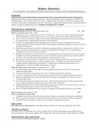 Mechanical Project Manager Resume Sample Manufacturing Engineering Manager Resume For Study Objective 1