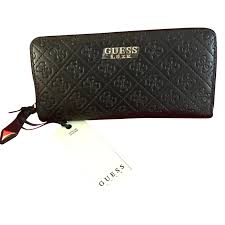 guess guess luxe leather wallet purses wallets cases leather black ref 59223