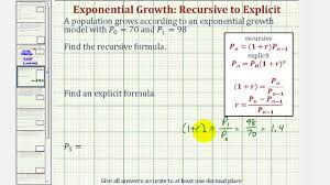 ex find an recursive and explicit equation for exponential growth given two functon values you