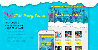Party Template Kids Party Events Muse Template By Bsvit Themeforest