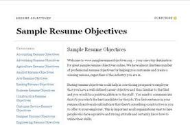 Sample Objective For Resume Example Document And Resume