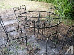 vintage wrought iron garden set glass top table 4 chairs