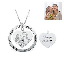 picture of engraved heart pendant photo necklace with round name disc in 925 sterling silver