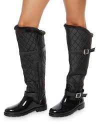 Faux Fur Lined Quilted Rain Boots - Rainbow & ... Faux Fur Lined Quilted Rain Boots,BLACK NYLON,large Adamdwight.com