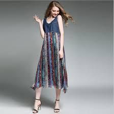 Dress Patterns For Women Impressive Bohemia Long Dresses Geometric Patterns Women Dresses Jeans