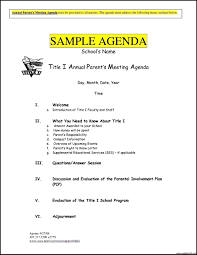 Sample School Agenda Impressive Meeting Agenda Template Example For Annual Parent Meeting 1