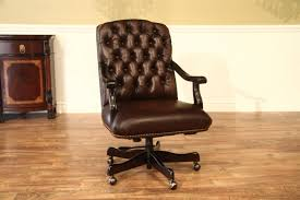 brown leather tufted camel back executive chair with brass tufted leather swivel desk chair