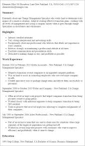 Resume Templates: Change Management Specialist
