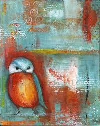orange teal abstract bird painting