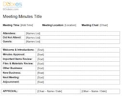 Meeting Of Minutes Format Standard Meeting Minutes Template Dotxes
