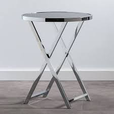 metal end tables chrome glass top round side table industrial metal tables for