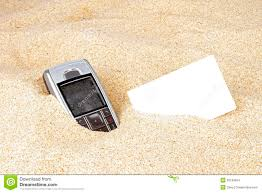 Sand Card Mobile Phone With Business Card In The Sand Stock Photo Image Of