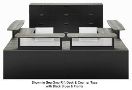 two person custom u shaped reception desk