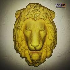 lion head wall hanger sculpture 3d scan image
