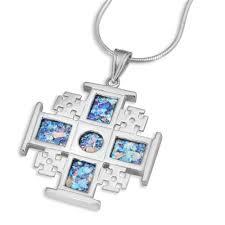 sterling silver and roman glass jerum cross pendant jewelry my jerum
