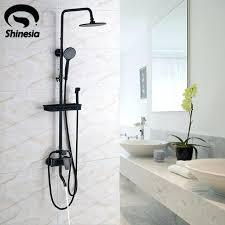 oil rubbed bronze shower faucet set 8 rain head hand spray mixer tap wall mounted walls