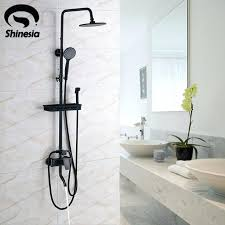 oil rubbed bronze shower faucet set 8 rain head hand spray mixer tap wall mounted walls