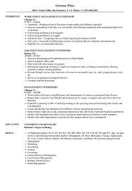 Management Internship Resume Samples | Velvet Jobs