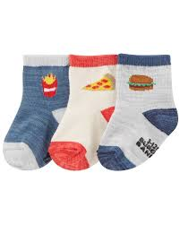 Carters Socks Size Chart 3 Pack Food Crew Socks Carters Com