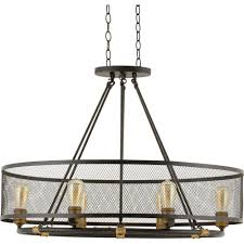 6 light forged bronze oval chandelier with mesh shade