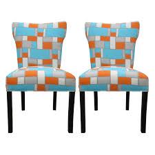Dining Room  Modern Bella Hopscotch Orange Blue Upholstered - Dining room chairs blue