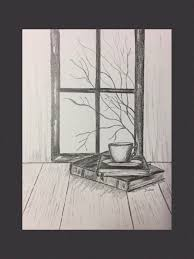 pencil drawing black and white drawings book art original pencil sketch still life graphite drawing coffee and books fall scene
