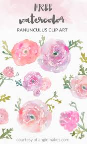 free watercolor flower clip art watercolor ranunculus by angie makes angiemakes
