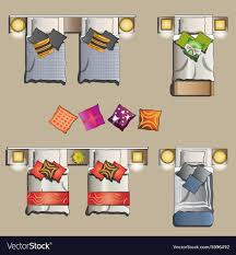 twin bed top view. Simple View Twin Bed Top View Set 2 Vector Image Inside Bed Top View T