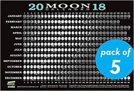 2018 Moon Calendar Card 5 Pack Lunar Phases Eclipses