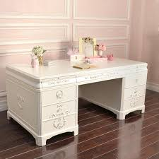 white office desk with drawers. Shabby Cottage Chic Large White Office Executive Desk 8 Drawers French Style With