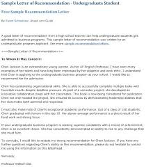 How To Format A Letter Of Recommendation For A Student 1 Sample Letter Of Recommendation For Undergraduate Students