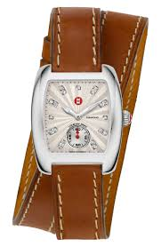 michele double wrap leather watch strap 16 18mm in light brown