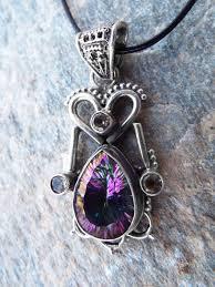 mystic topaz citrine pendant silver necklace handmade gemstone sterling 925 heart tear stone dark antique vintage