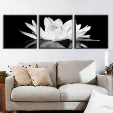 aliexpress 3 pcs set canvas print flower white lotus in with black and