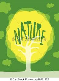 Word Of Nature Unique Tree With Nature Word On It Cartoon Illustration Tree With