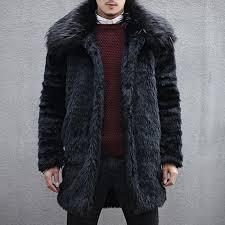 mens thick warm faux fur coat large lapel collar black jacket black xl cod