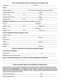 Emergency Contact Forms For Children Emergency Access My Health Record To Download Editable Fillable